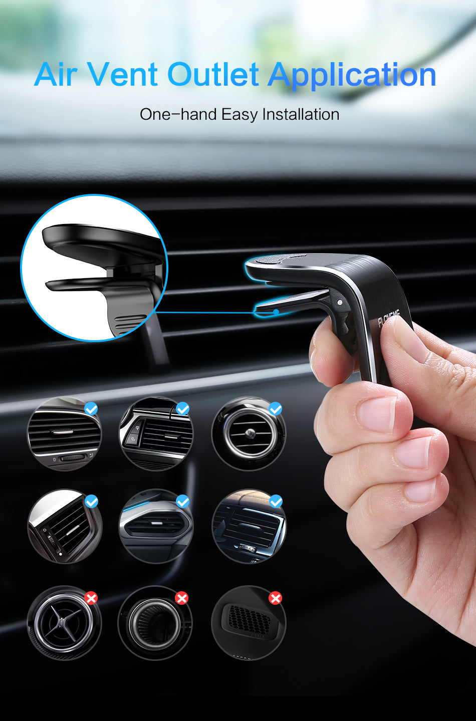 FLOVEME Magnetic Car Phone Holder For Phone in Car L Shape Air Vent Mount Stand Magnet Mobile Holder For Iphone X 8 7 Samsung S9 - FLOVEME