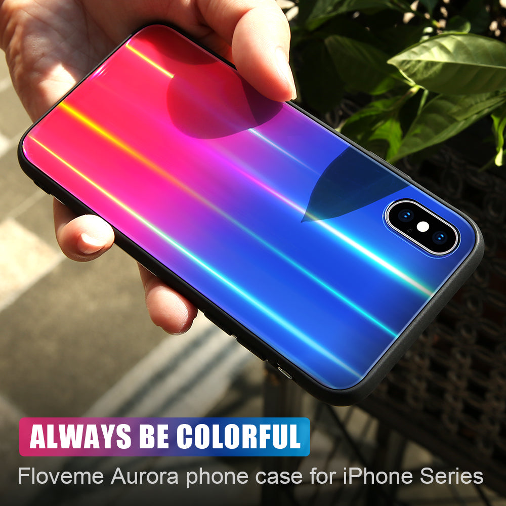 Aurora Tempered Glass Case For iPhone 7 8 Plus - FLOVEME