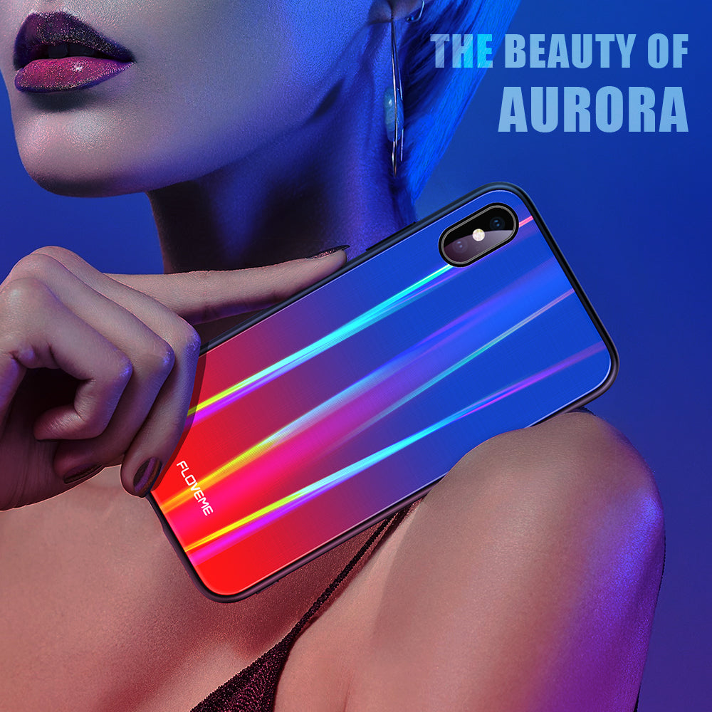 Aurora Tempered Glass Case For iPhone X XS - FLOVEME