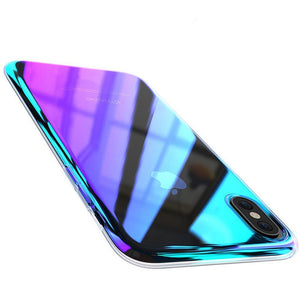 FLOVEME Wireless Charger Case Compatible with iPhone X, Luxury Slim Fit Gradual Colorful Gradient Change Color Ultra Thin Lightweight Electroplating Bumper Anti-Drop Clear Hard Back Cover (Purple ) - FLOVEME
