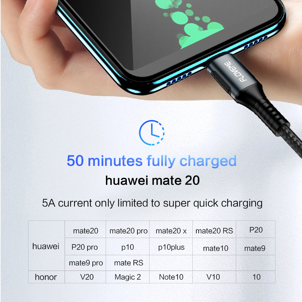 FLOVEME 5a Usb Type C Cable Fast Charger For Huawei P30 Pro P20 Lite Quick Charging Cord Usb C For Samsung S9 S10e Redmi Note 7 - FLOVEME