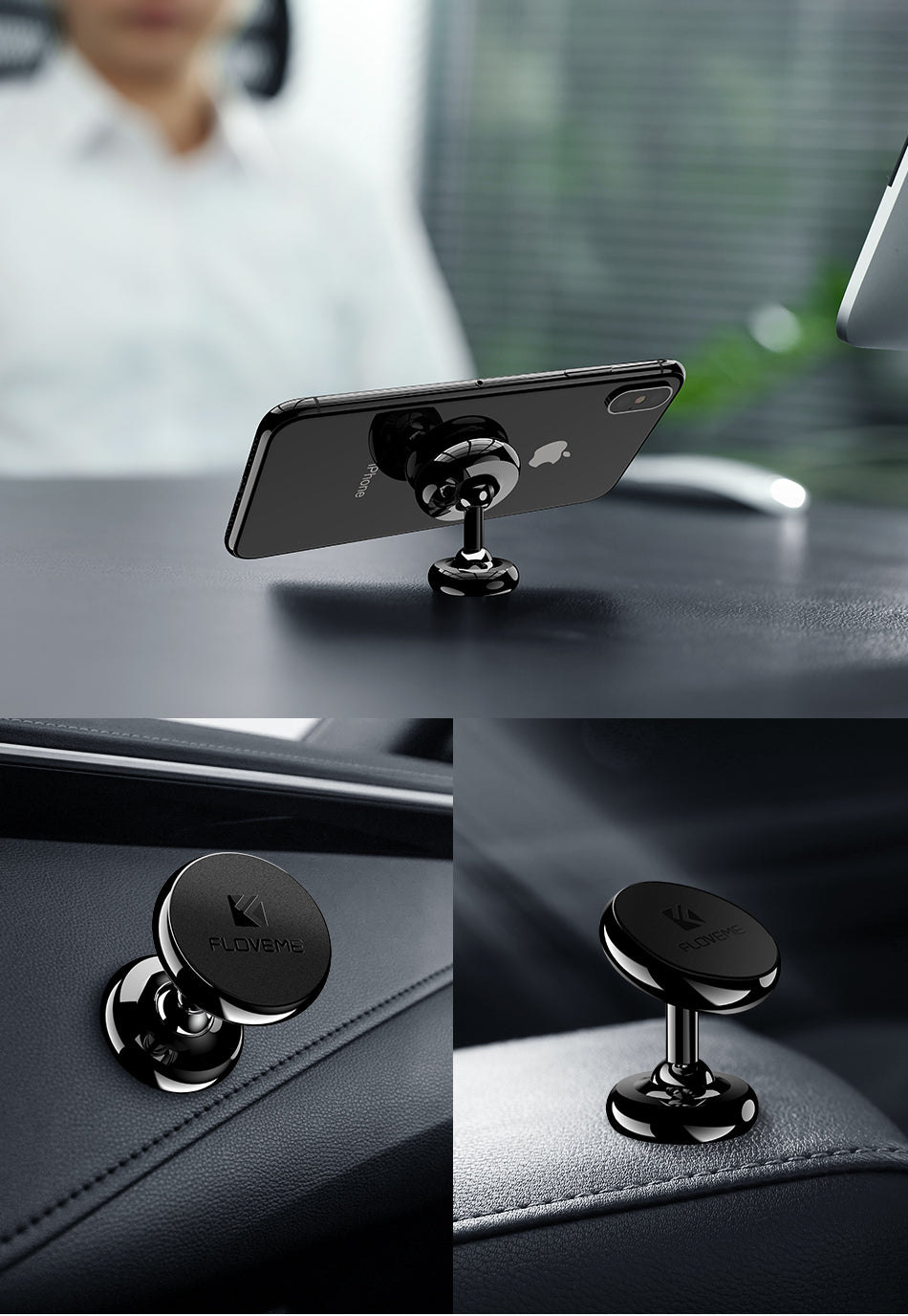 FLOVEME Magnetic Car phone holder for iPhone 7 8 XR Mount phone holder Stand for Huawei P30 P20 celular para carro for Samsung - FLOVEME