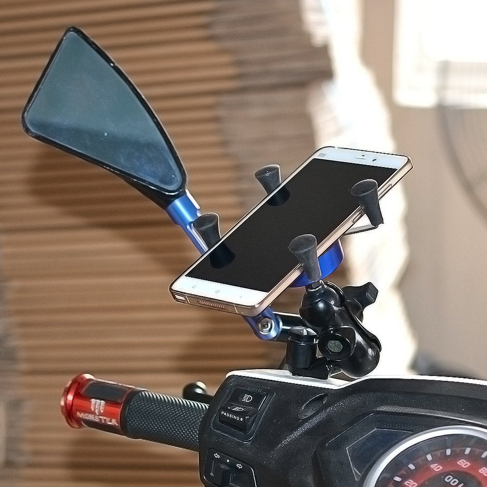 Motorcycle Mount, FLOVEME X-Grip Motorbike Cell Phone Holder Bracket with USB Charger Socket Plug for Samsung HTC Huawei Nexus GPS and More - FLOVEME