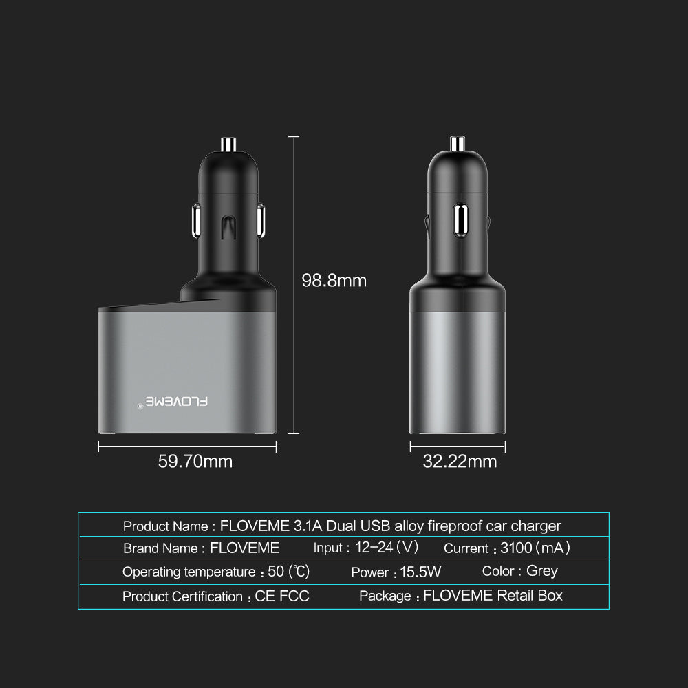 FLOVEME Dual USB Car Charger with Voltage Monitor Cigarette Lighter Socket Splitter 5V 3.1A Fast Charge Car Charger Adapter Compatible for iPhone Xs Max/XR/X/7Plus/8 Samsung Note 9/8/S9 and More - FLOVEME