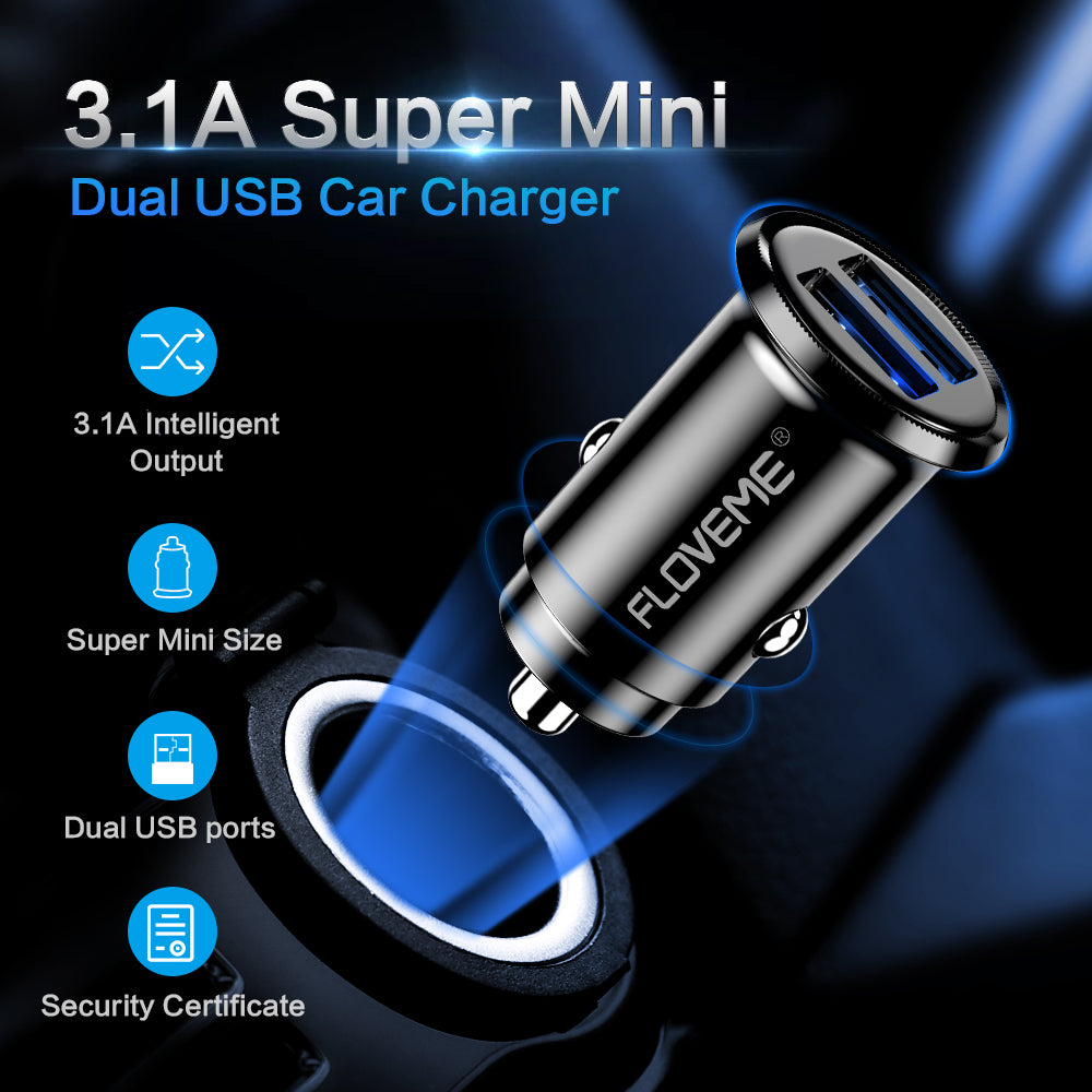 FLOVEME Mini USB Car Charger For iPhone X 8 7 6 Plus 3.1A Fast Car Charger For Xiaomi Redmi Note 7 Dual USB Car Charger Adapter - FLOVEME