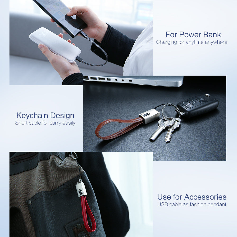 Date Charger Leather Cable with Keychain - FLOVEME
