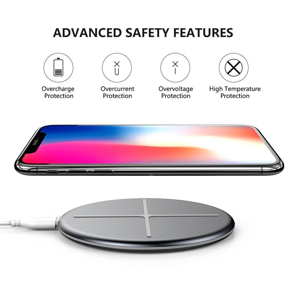 Standard QI Wireless Charging Pad for iPhone X/8 Samsung Note 9/8 - FLOVEME