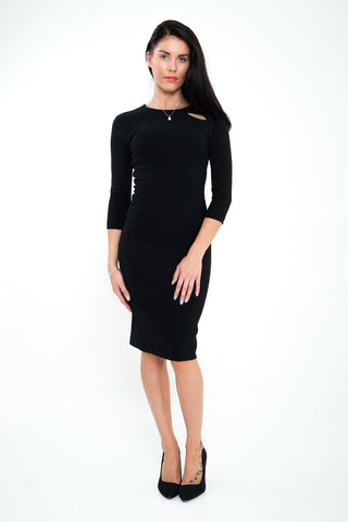 The Emily Black fitted pencil dress knee length pencil dress