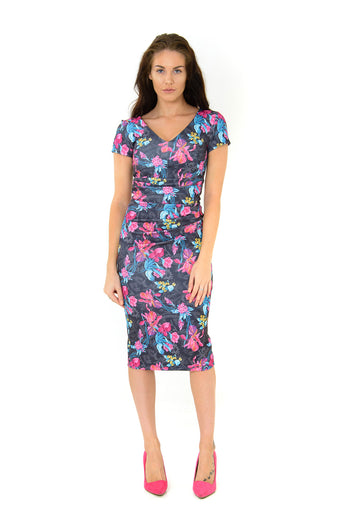 The Chloe Black/Fuchsia Floral fitted stretch dress