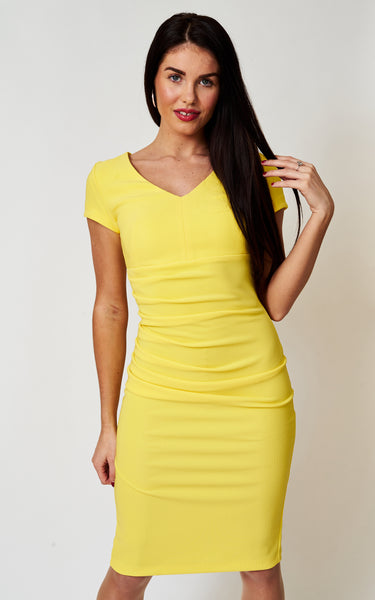 The Bethany Lemon fitted stretch dress