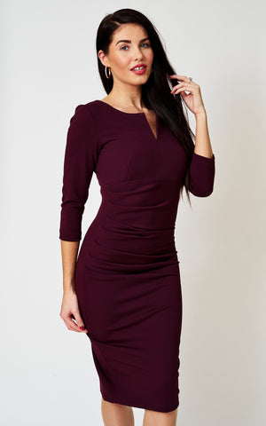 The Cecile Aubergine fitted notch neck stretch pencil dress(The Ultimate Collection)