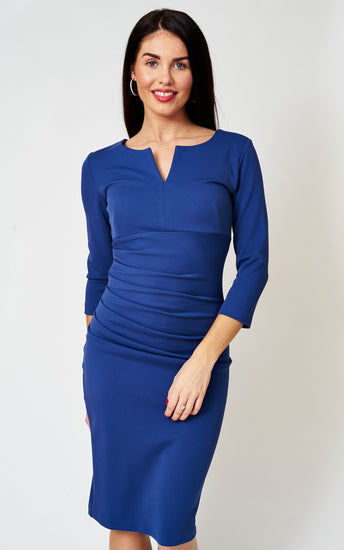 The Cecile French Navy notch neck stretch pencil dress