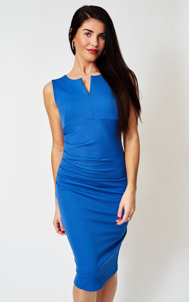 The Cosette Blue sleeveless fitted bodycon dress