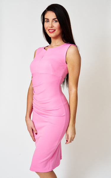 The Cosette Pink notch neck sleeveless stretch fitted bodycon dress
