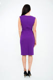 The Grace Purple ribbed stretch sleeveless dress