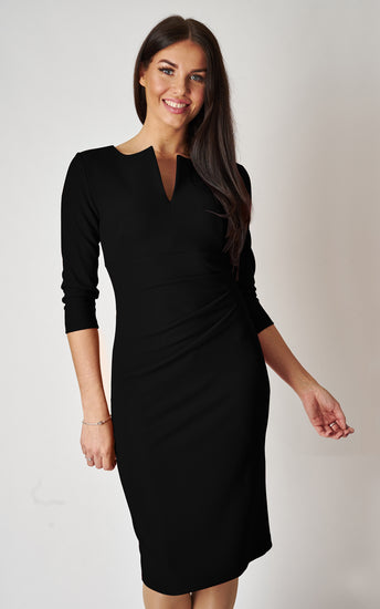 The Harper Black fitted v-shaped front slit pencil dress