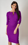 The Harper Purple fitted v-shaped front slit pencil dress