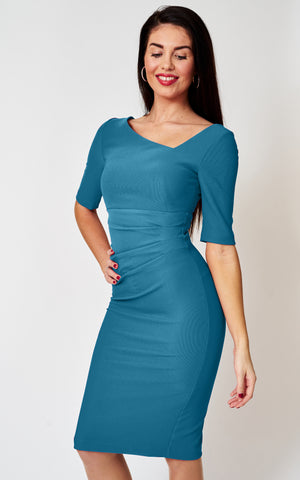 The London asymmetric neckline fitted stretch teal blue dress