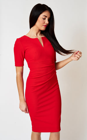 The Paris Orange/ Red open neck fitted stretch dress