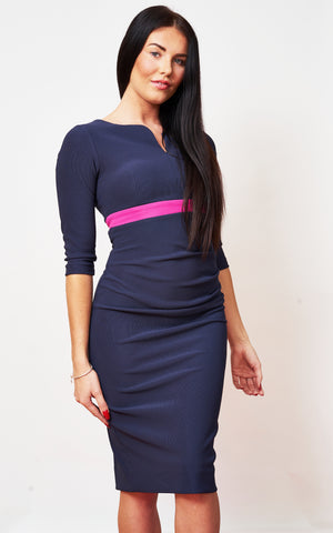 The Portland Navy Midi pencil dress