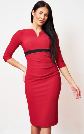 The Portland Red Midi Contrast Pencil Dress