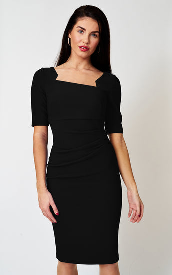 The Richmond Black Stretch ribbed pencil dress