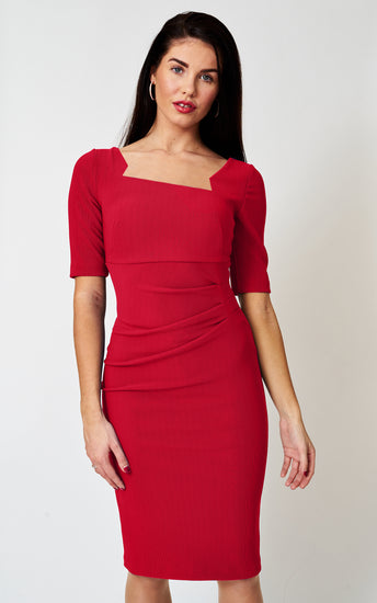 The Sienna Red Stretch Cutout neck fitted pencil dress
