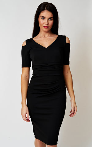The Sydney cold shoulder stretch dress