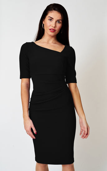 The London Asymmetric Neckline Stretch Black Fitted dress
