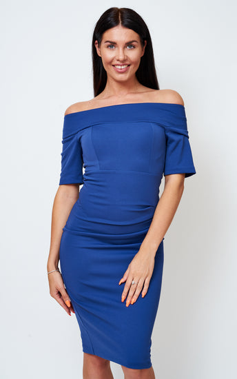 The Bardot Off the shoulder Blue Stretch Bodycon dress