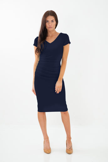The Bethany Navy Fitted dress
