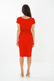 The Bethany Red v neck fitted stretch pencil dress