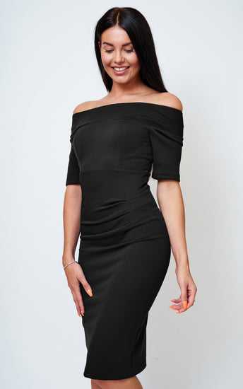 The Bardot Black off the shoulder stretch dress