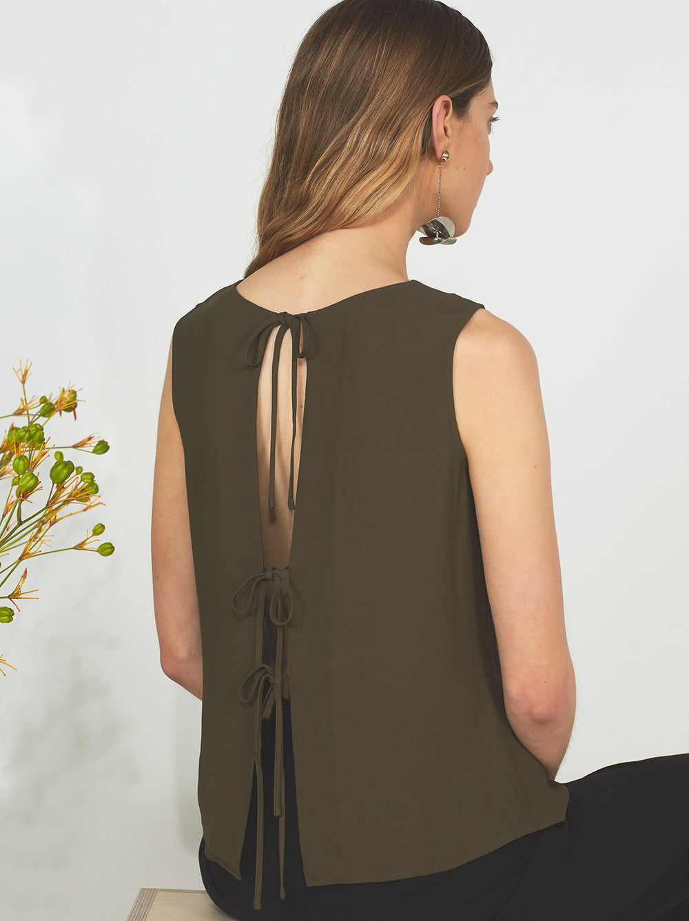 Leanne Khaki Open Back Blouse by KITRI Studio