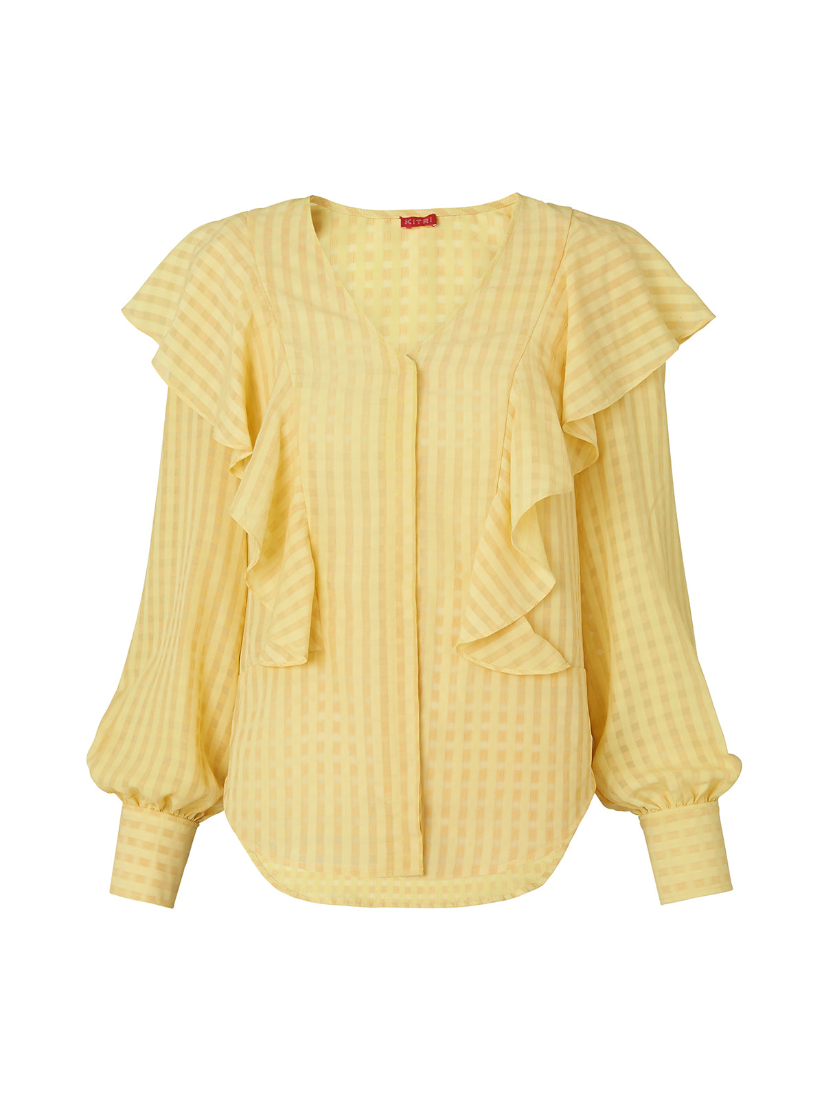 Akane Yellow Frill V-Neck Long Sleeve Blouse by KITRI Studio