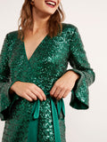 Alyssa Green Sequin Wrap Dress by KITRI Studio