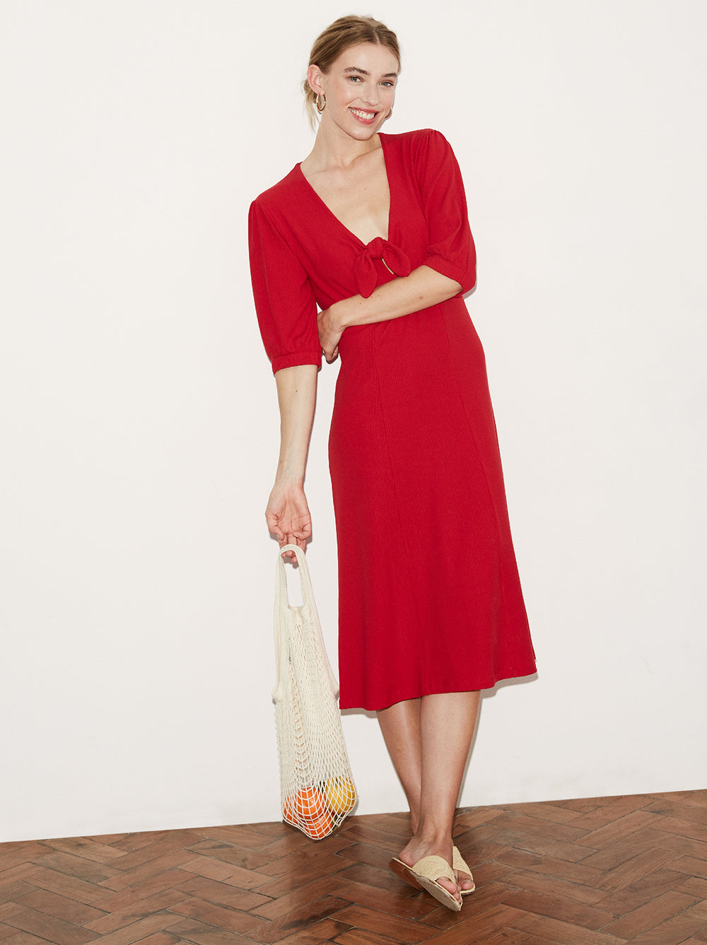 Amaris Red Tie Front Jersey Dress by KITRI Studio