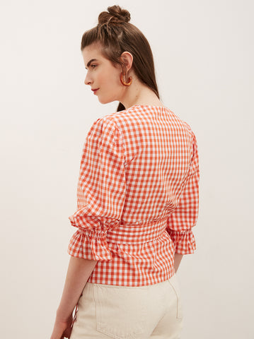 Antonina Orange Cotton Gingham Wrap Shirt by KITRI Studio