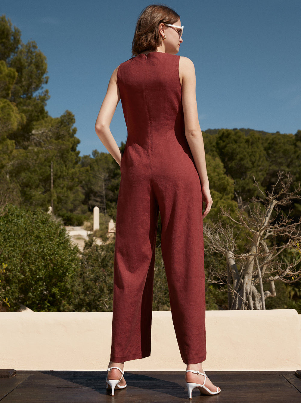 Araceli Brick Linen Wide Leg Jumpsuit by KITRI Studio