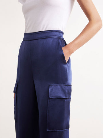 Azalea Navy Utility Satin Trousers by KITRI Studio