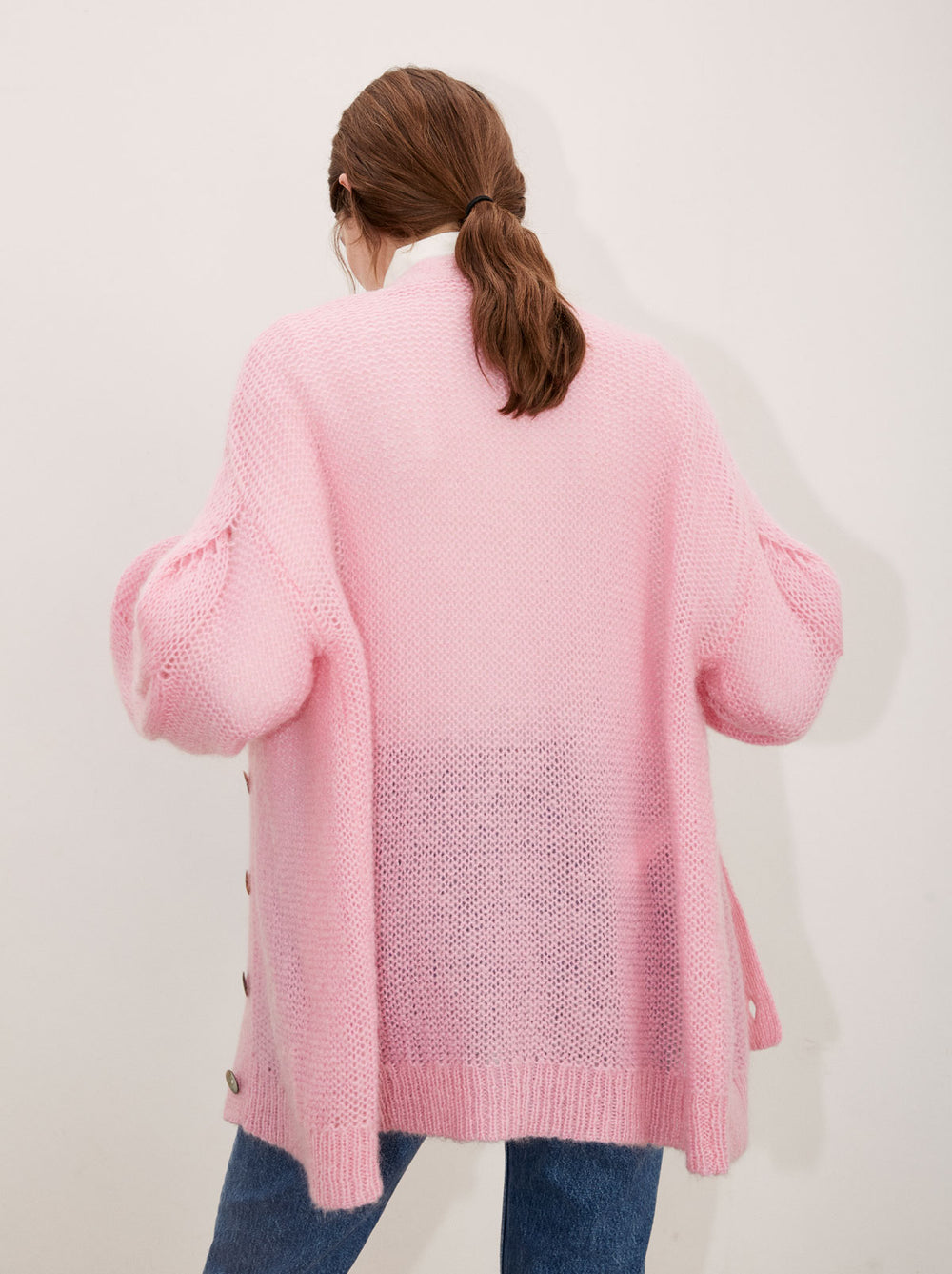 Beata Pink Mohair Oversized Knit Cardigan by KITRI Studio