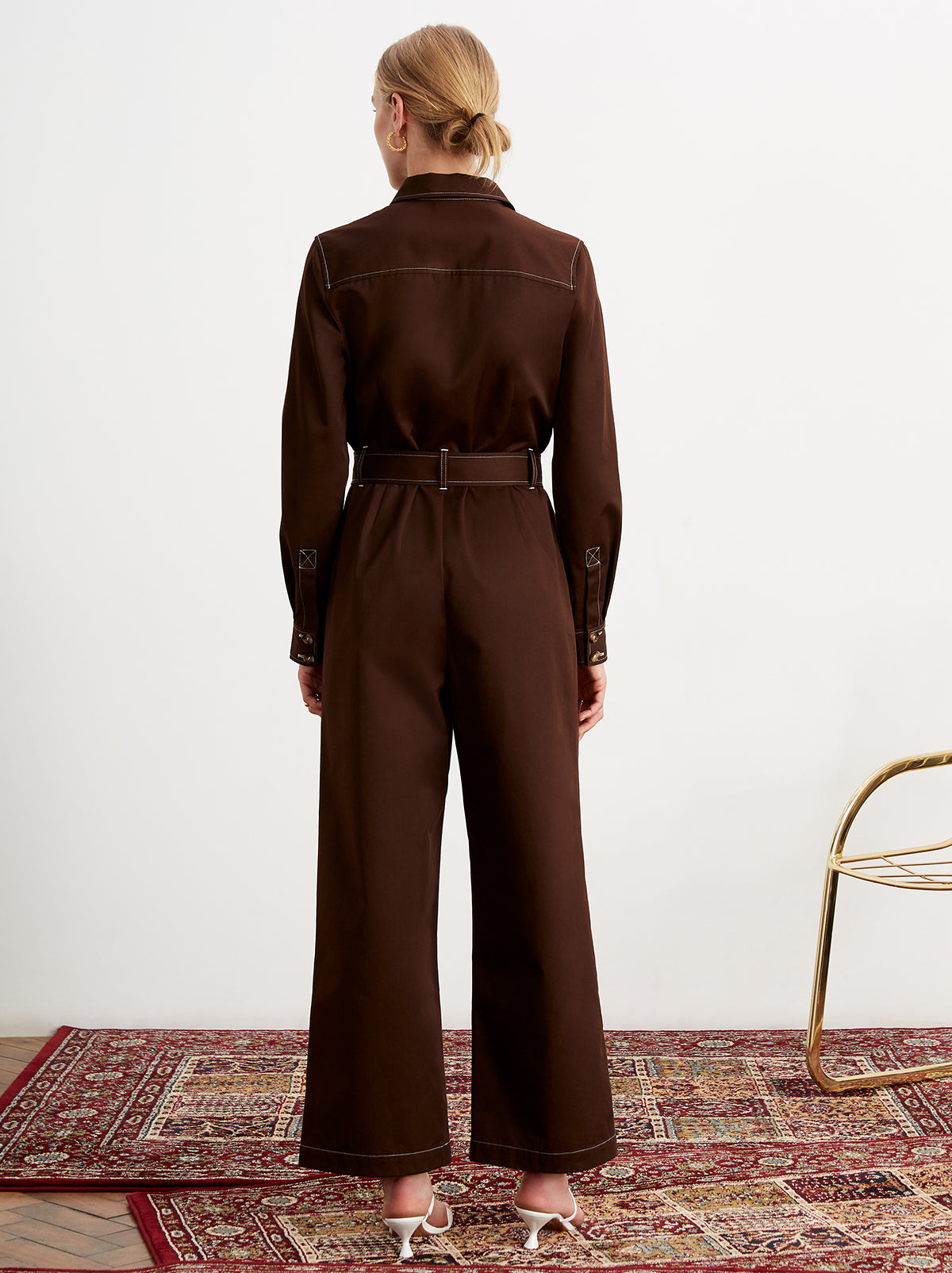Blanca Chocolate Utility Jumpsuit by KITRI Studio