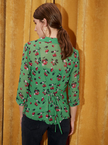Blythe Green Cherry Print Blouse by KITRI Studio