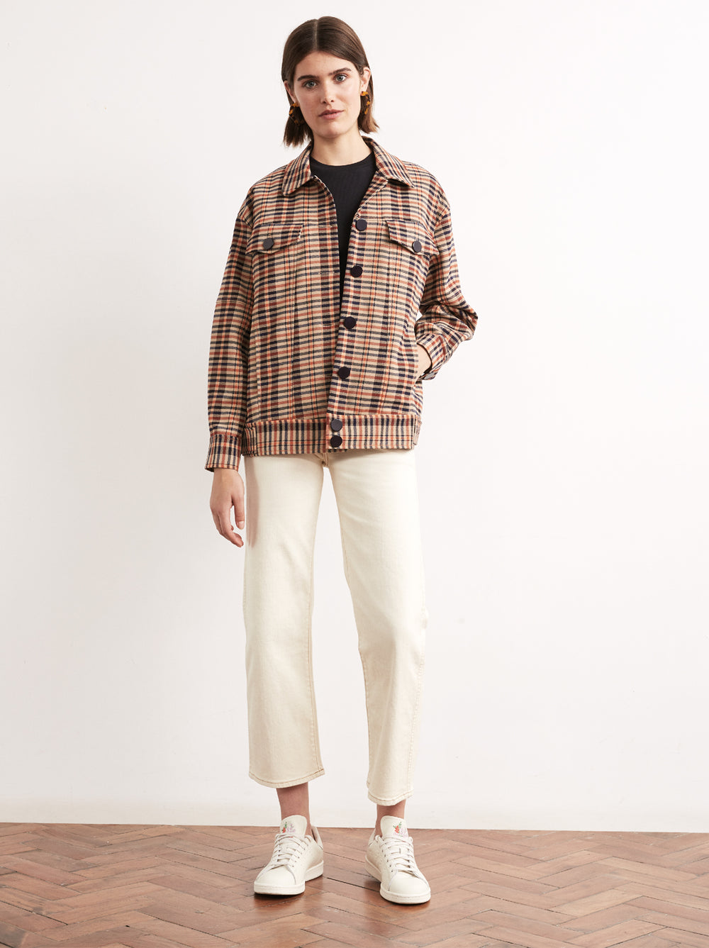 Brooke Checked Oversized Trucker Jacket by KITRI Studio