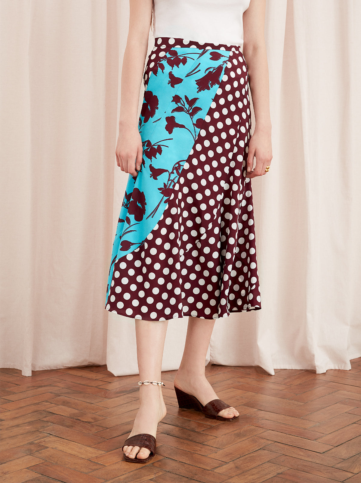 Callista Mixed Print Midi Skirt by KITRI Studio