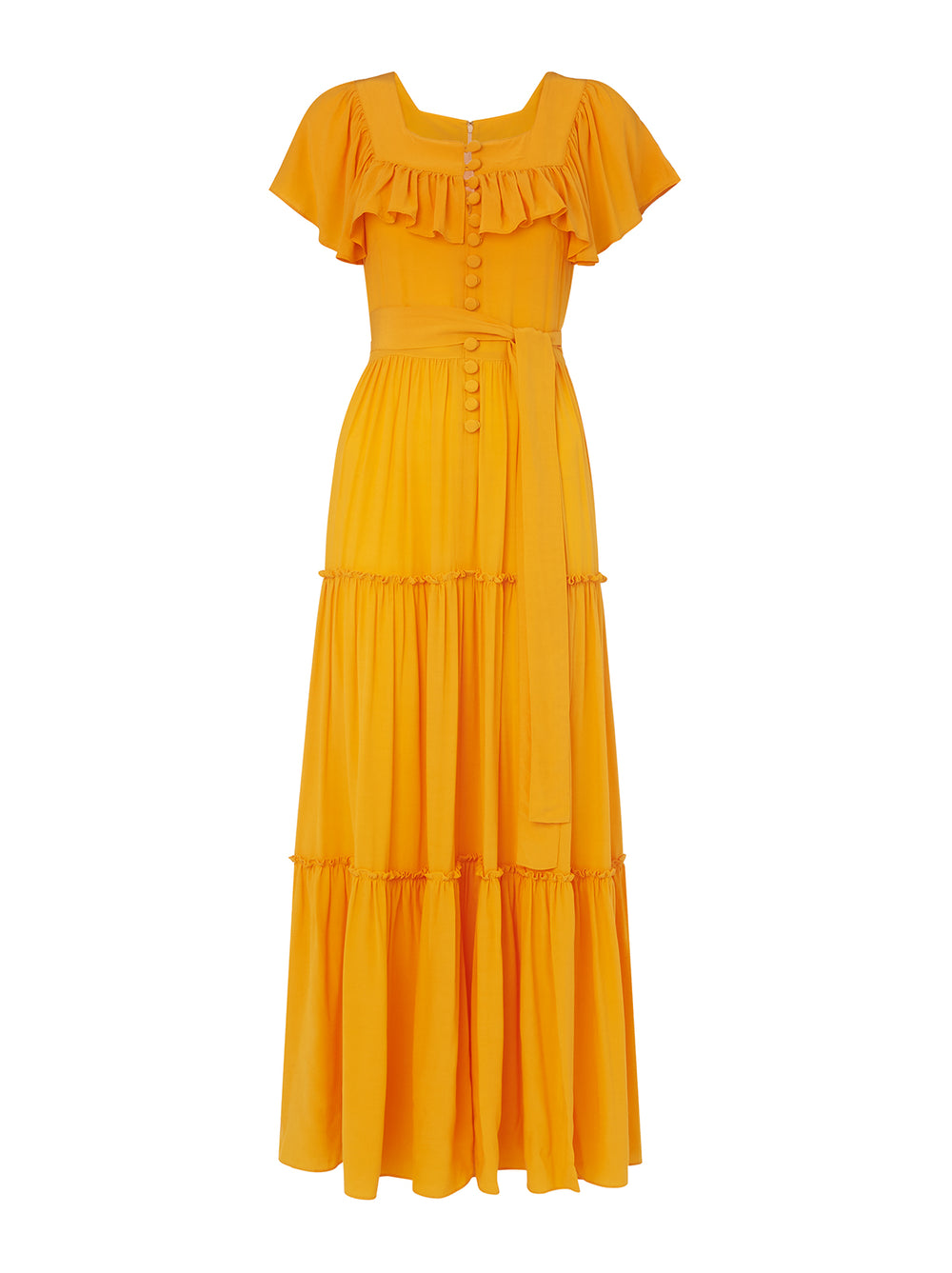 Carida Yellow Frill Sleeve Maxi Dress by KITRI Studio