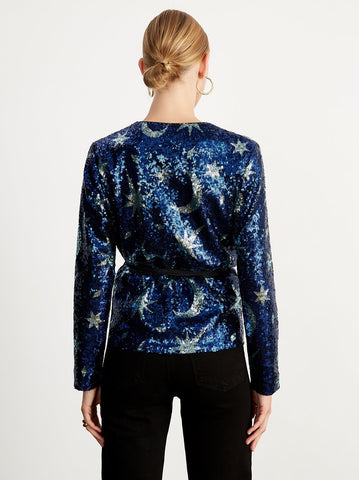 Carmina Blue Sequin Wrap Top by KITRI Studio
