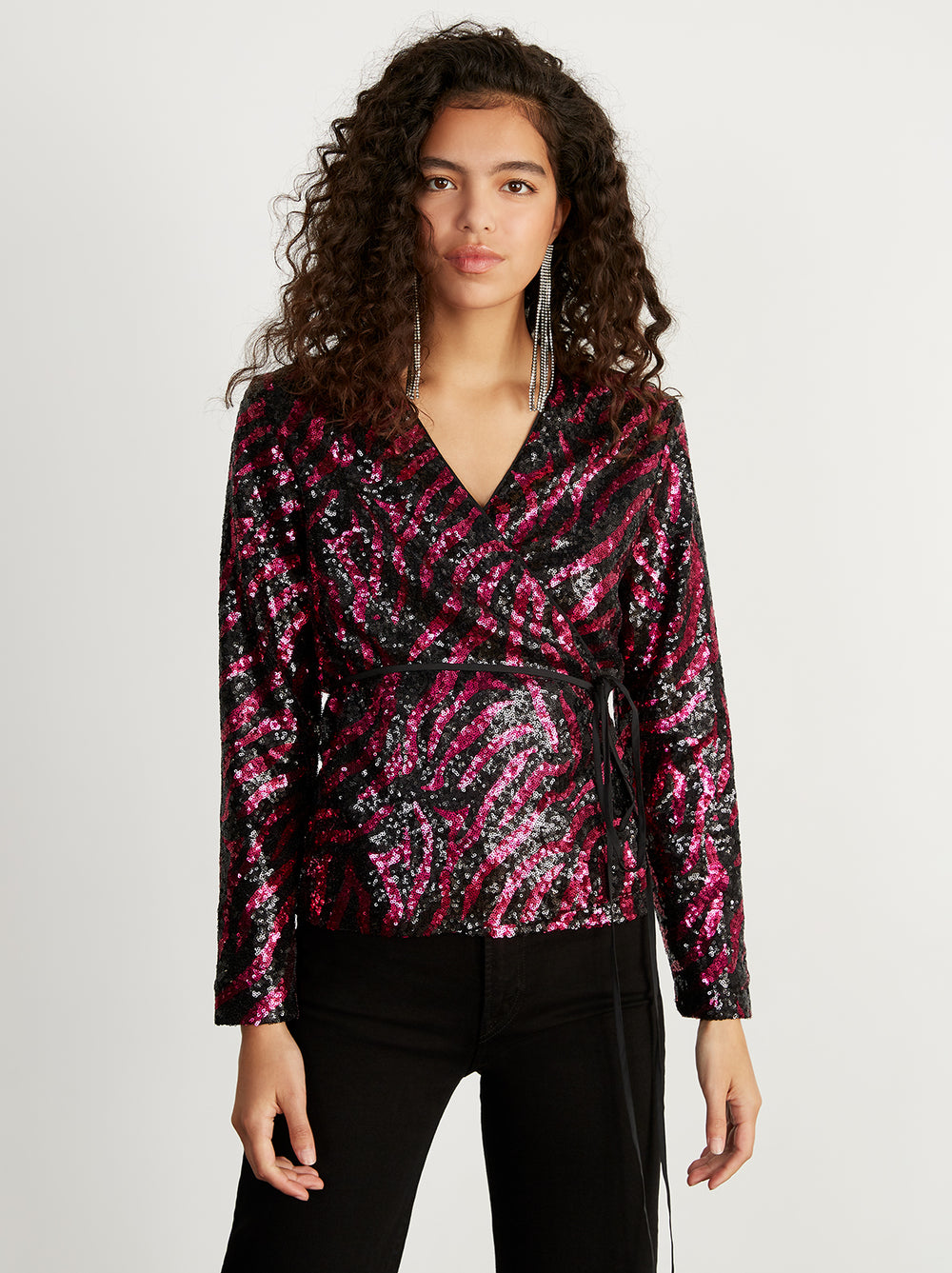Carmina Pink Animal Sequin Wrap Top by KITRI Studio
