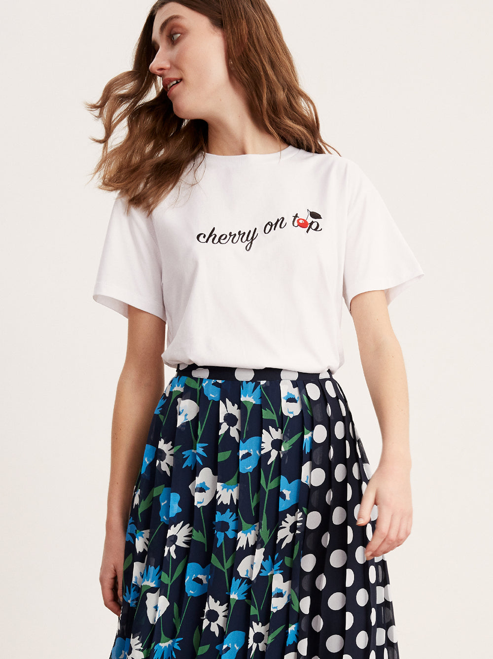 Cherry on Top White Embroidered Cotton T-shirt by KITRI Studio