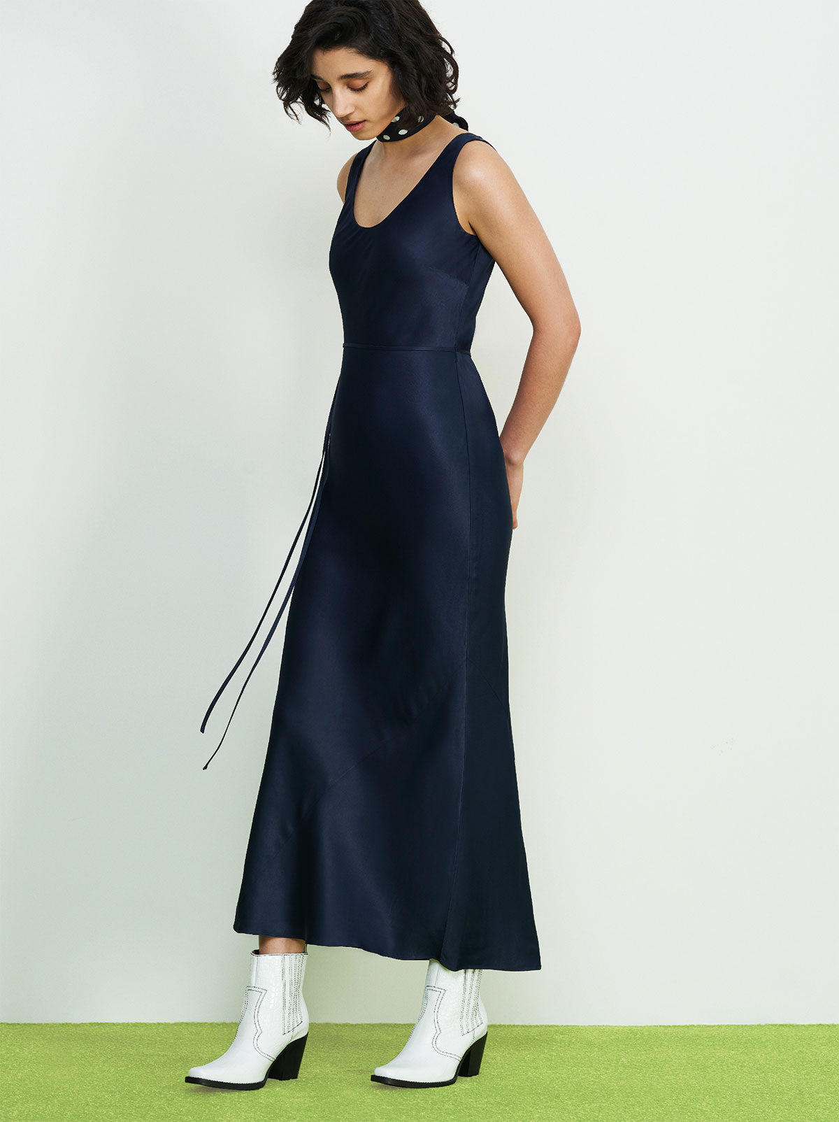 Claire Navy Satin Maxi Dress by KITRI Studio